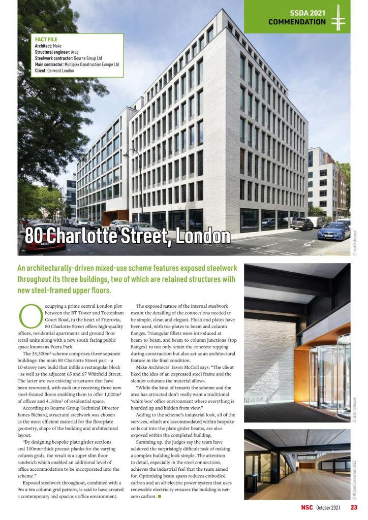 80 Charlotte Street, London project in the News - Commendation at the Structural Steel Awards 2021